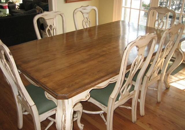 Handpainted Distressed Stained Table Chairs