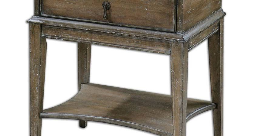 Hanford Country Rustic Weathered Pine Accent Table