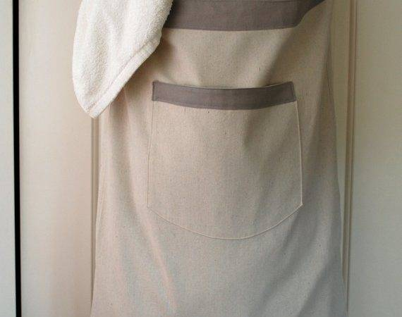 Hanging Hamper Laundry Bag Gray Drawstring