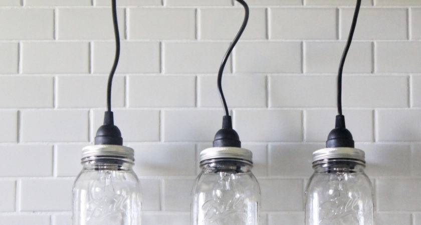 Hanging Mason Jar Pendant Lights Three Vintage
