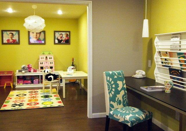 Happy Bold Kids Basement Playroom Contemporary