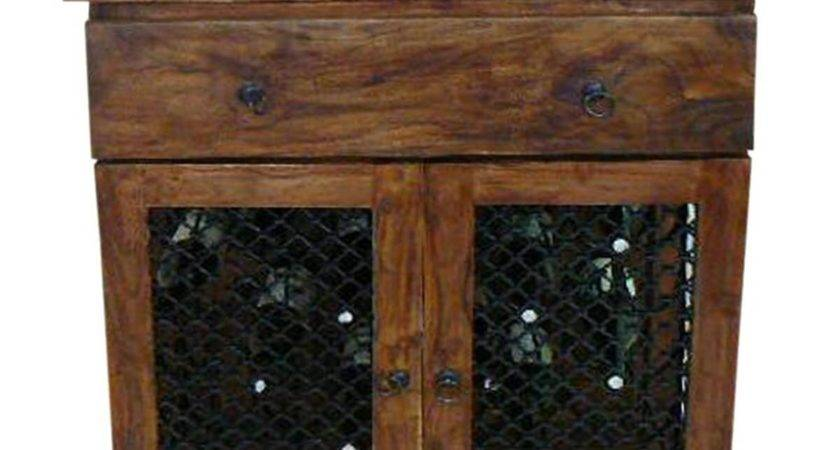 Hemlock Traditional Rustic Solid Wood Iron Grill Door Wine