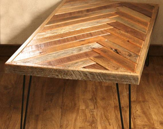 Herringbone Coffee Table Hairpin Legs Grindstonedesign