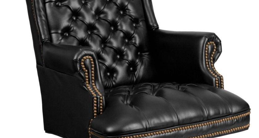 High Back Tufted Black Leather Executive Office Chair