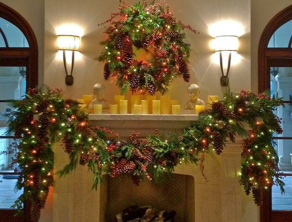 Holiday Decor Mantle Garland Traditional