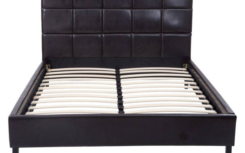 Homcom Queen Headboard Faux Leather Bed Frame Slat