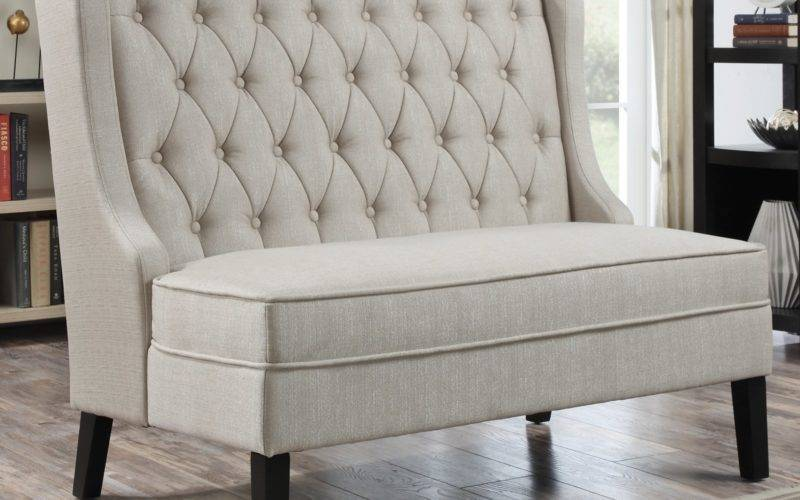 Home Meridian Banquette Bench Tuxedo Oatmeal Indoor