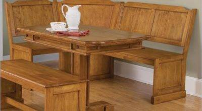 Home Styles Wood Kitchen Dining Nook Corner Bench