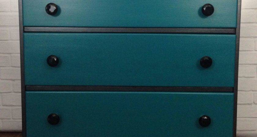 Hometalk Black Teal Painted Stenciled Dresser
