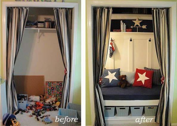Hometalk Closet Turned Reading Nook Toy Storage