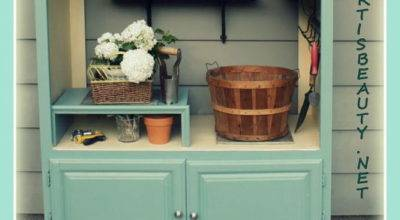 Hometalk Old Entertainment Center Turned Into Potting Shed