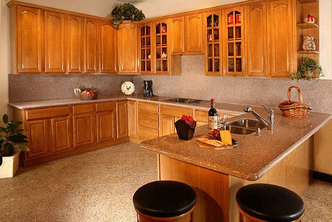 Honey Oak Kitchen Cabinets Black Countertops Bed