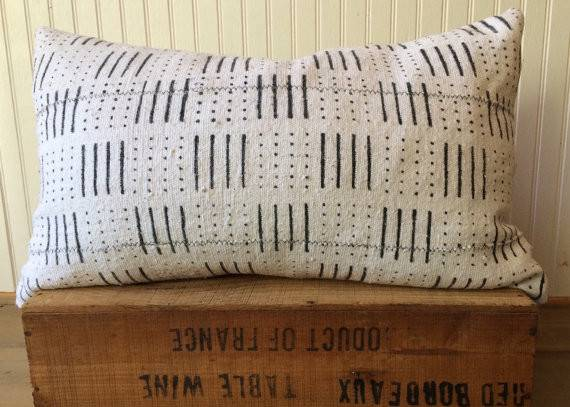 Inch White African Mud Cloth Pillow Cover