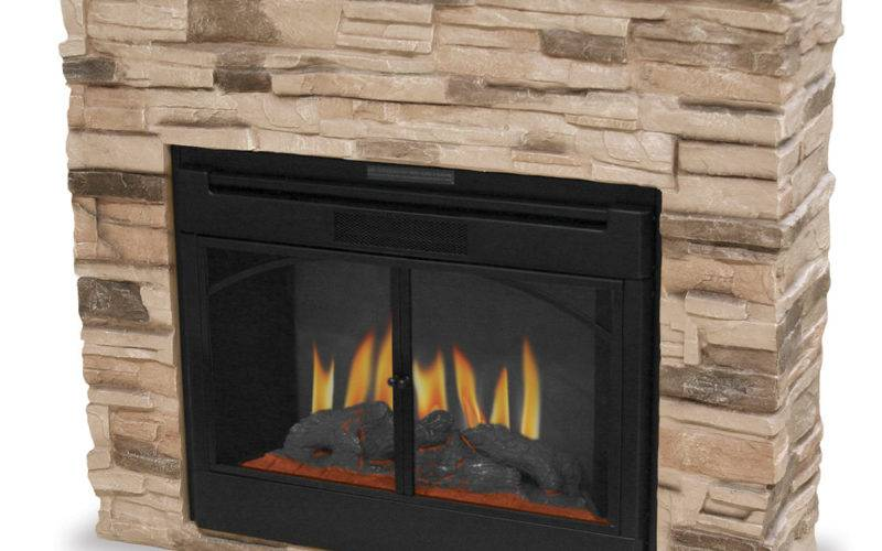 Indoor Electric Fireplace Stacked Stone Surround