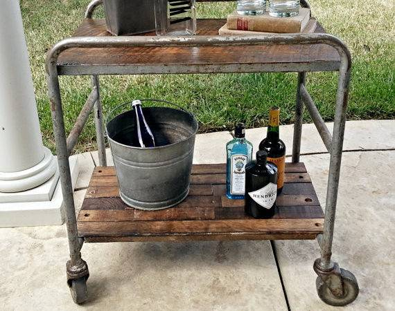 Industrial Bar Cart Rolling Rustic Table Casters
