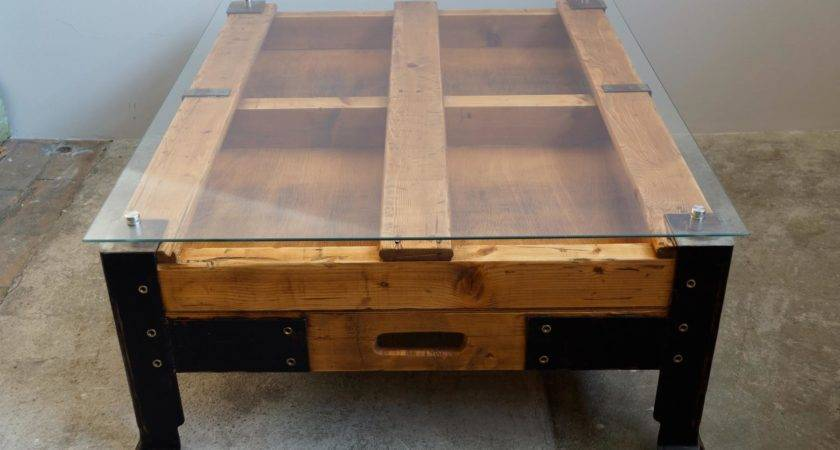 Industrial Pallet Coffee Table Glass Top Sale