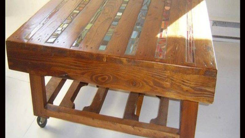 Inlay Stained Glass Table Top Pallet Wood