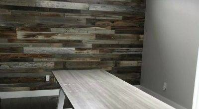 Install Reclaimed Barn Wood Accent Wall