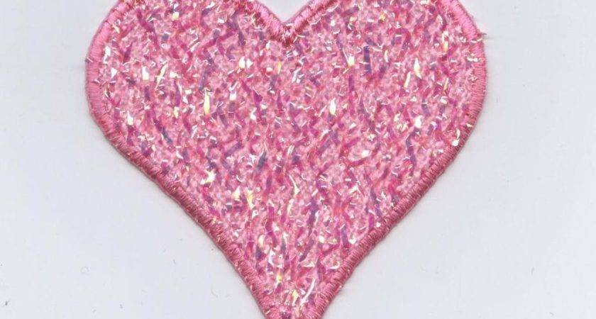 Iron Applique Embroidered Patch Pink Shimmery Confetti