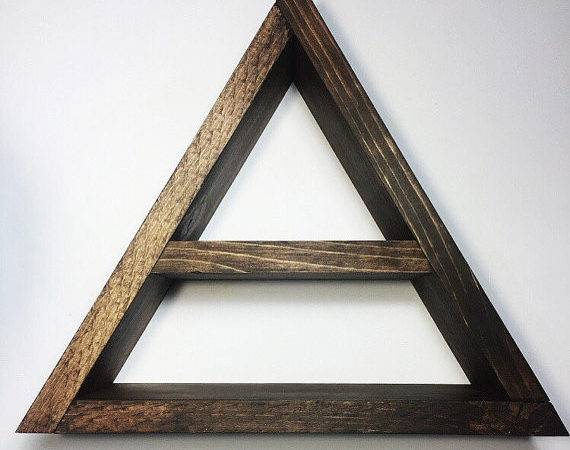 Items Similar Two Level Wooden Triangle Wall Shelf Etsy