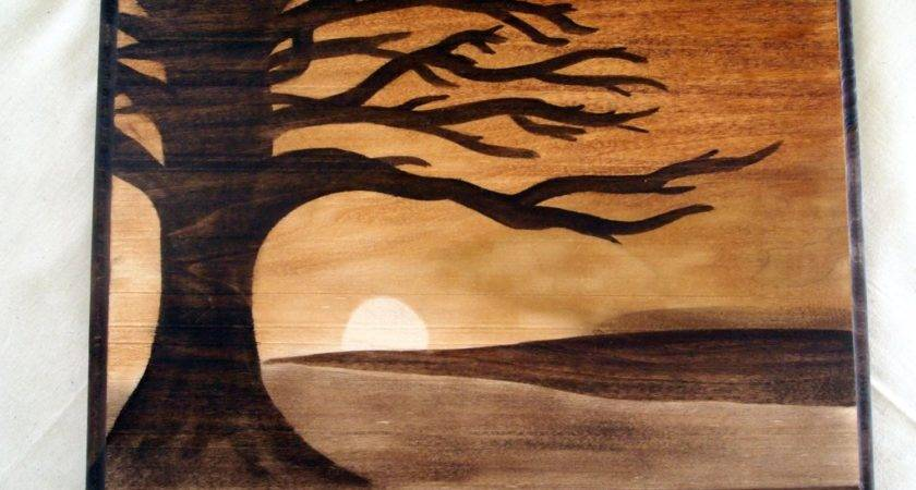 Items Similar Wood Stain Shading Artwork Plaque Sunset
