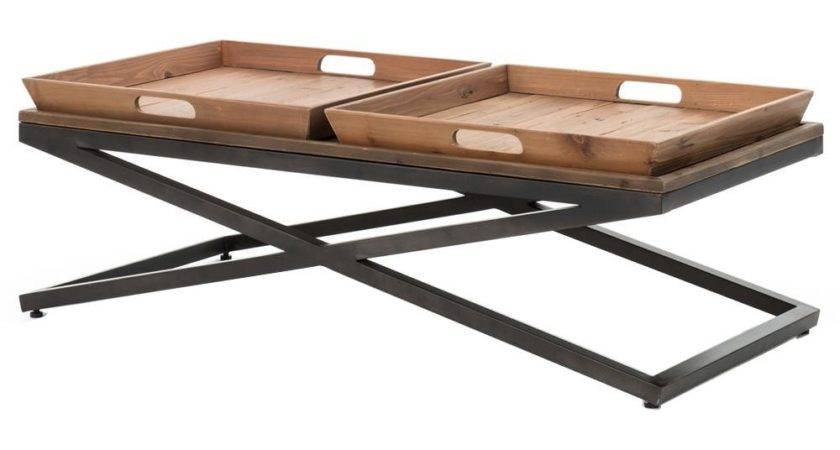 Jaxon Double Tray Top Wood Iron Industrial Rectangle