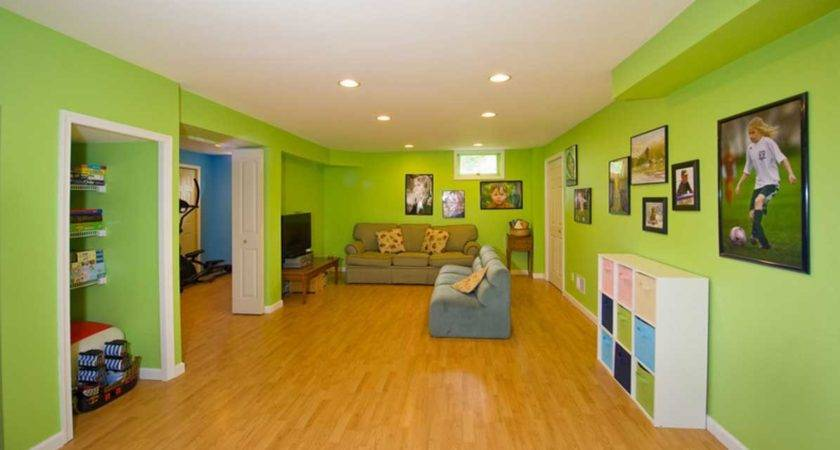 Kids Basement Playroom Green Wall Paint Color Home