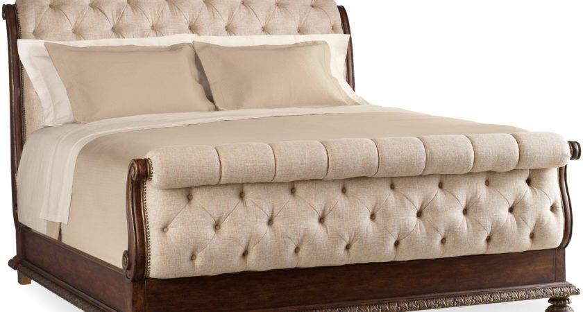 King Tufted Sleigh Bed Upholstered Headboard