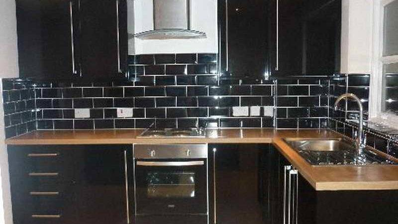 Kitchen Backsplash Black Subway Tiles