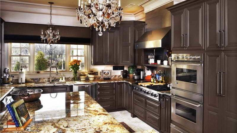 Kitchen Brown Painted Cabinets Chandelier