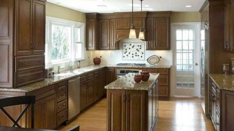 Kitchen Modern Island Brown Painted Cabinets