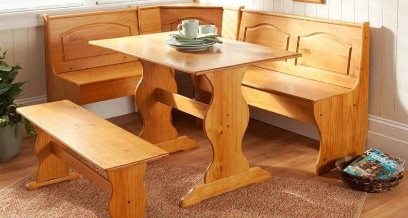 Kitchen Nook Solid Wood Corner Dining Breakfast Set Table