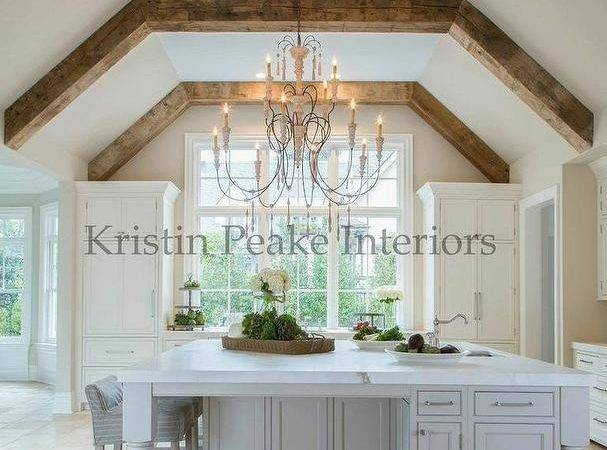 Kitchen Vaulted Ceiling Wood Beams Transitional