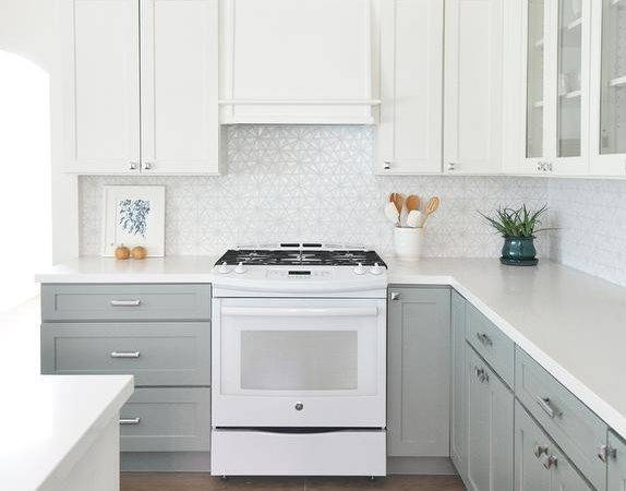 Kitchen White Top Cabinets Gray Bottom