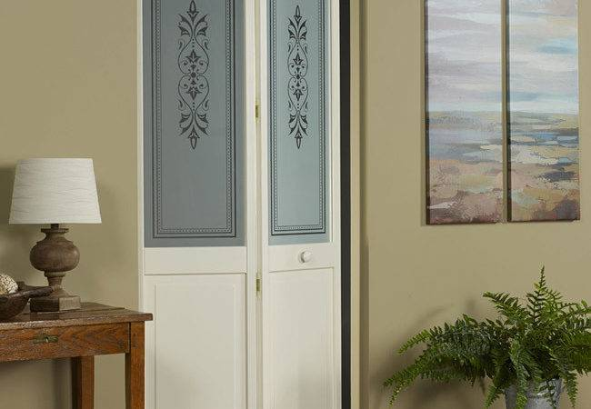 Lace Wood Bifold Door Traditional Glass Design