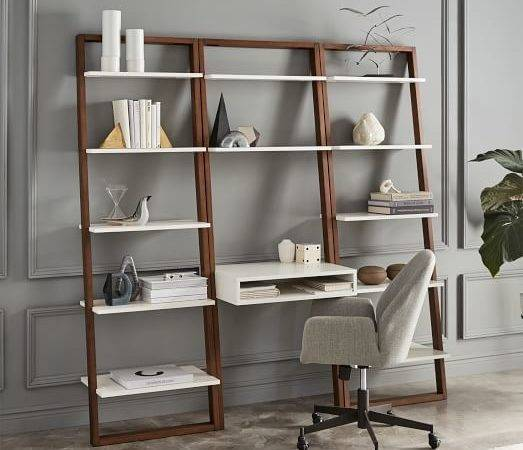 Ladder Shelf Desk Wide Bookshelf Set West Elm