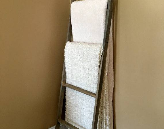 Ladder Wooden Blanket Quilt Rack