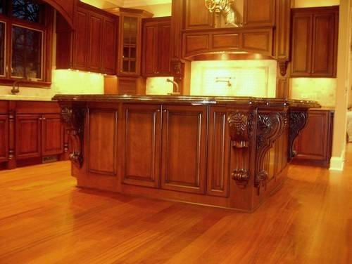 Large Island Corbels Traditional Kitchen Chicago