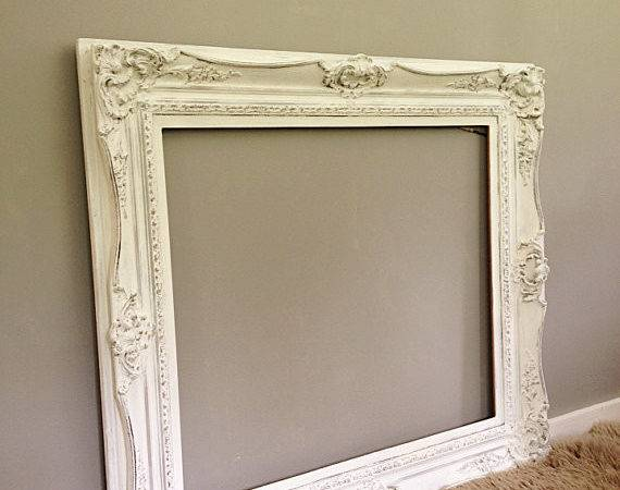 Large Ornate Frame Vintage Wood Baroque Wall Hanging Leaning