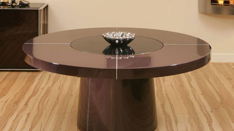 Large Round Plum Gloss Dining Table Glass Lazy Susan Led