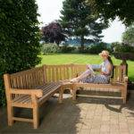 Large Seater Teak Wood Corner Garden Bench Shape