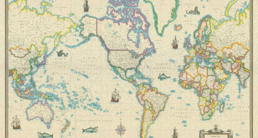 Large Vintage Antique World Map Poster Wall Art Print