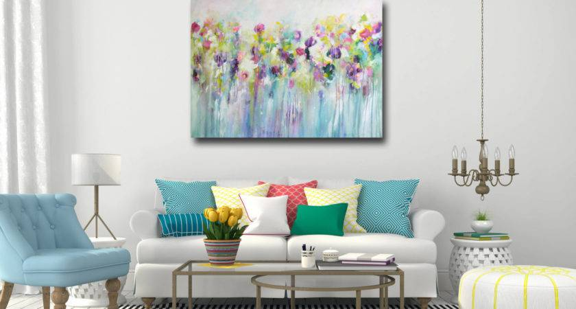 Large Wall Art Canvas Abstract Floral Print