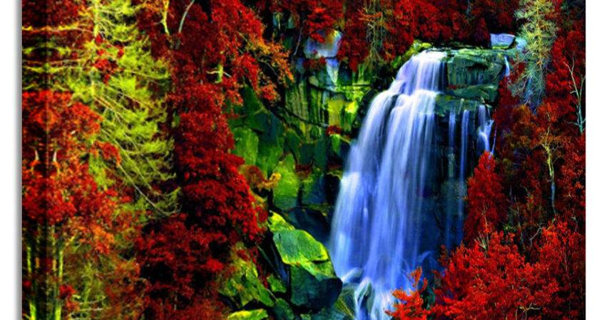 Large Waterfall Red Leaf Forest Canvas Art Cheap
