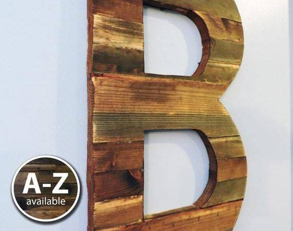 Large Wood Letters Rustic Letter Cutout Custom Wooden Wall