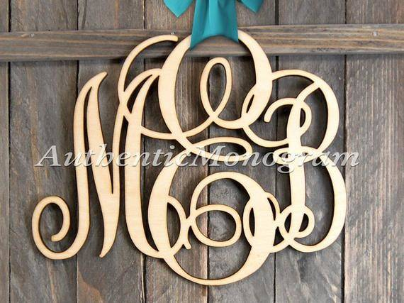 Large Wooden Monogram Wall Letters Unpainted Home Decor