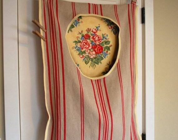 Laundry Bag Hamper Hanging Linen Red Stripe Shabby