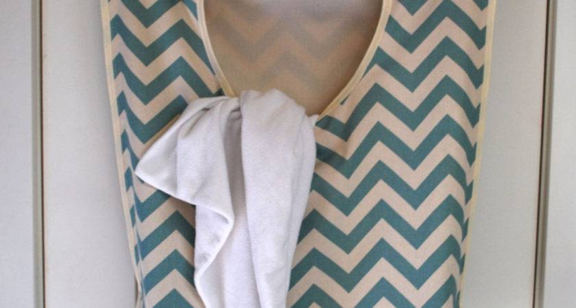 Laundry Bag Hamper Hangingblue Chevron Fabric