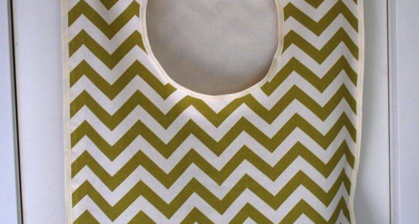 Laundry Bag Hamper Hanginggreen Chevron Fabric