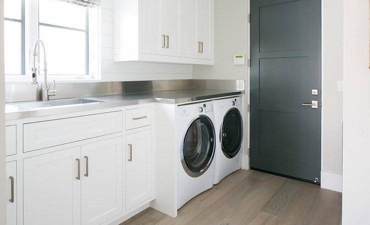 Laundry Room Stainless Steel Countertops Transitional